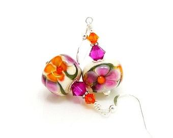 Pink and Orange Floral Earrings, Lampwork Earrings, Glass Earrings, Glass Bead Earrings, Glass Earrings, Beadwork Earrings, Lampwork Jewelry