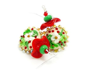 Red & Green Floral Ruffle Earrings, Christmas Earrings, Lampwork Earrings, Glass Bead Earrings, Beadwork Earrings, Christmas Jewelry