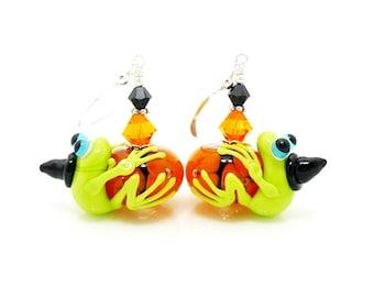 Frog Earrings, Halloween Earrings, Lampwork Earrings, Glass Earrings, Cute Earrings, Halloween Jewelry, Frog Jewelry, Witch Jewelry
