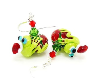 Frog Earrings, Christmas Earrings, Holiday Earrings, Frog Jewelry, Lampwork Earrings, Glass Earrings, Glass Bead Earring, Santa Earrings
