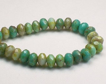 Czech Glass Beads 3 x 5mm Faceted Blue and Green Turquoise  Picasso Finish Rondelles 30 Pieces RON5-725