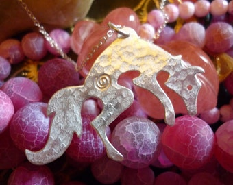 Jumping Fox Pendant, jewellery, SquareHare, Vegan, Free Shipping, UK