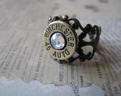 45 Auto Crystal and Filigree Bullet Ring