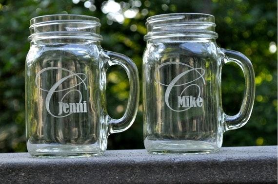 Personalized Mason Jar Mug with Fancy Monogram Glass Mug Sold Individually