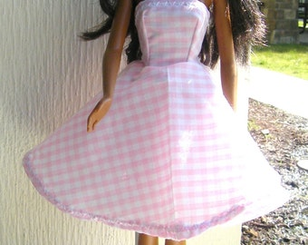 Pink and White Plaid  Barbie Doll Dress!