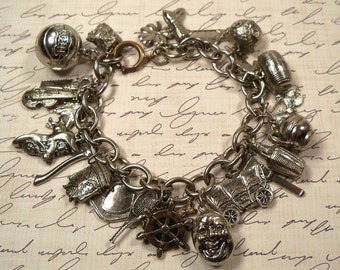 Awesome Vintage 1960s Silver Charm Bracelet 25 Unique Funny Charms