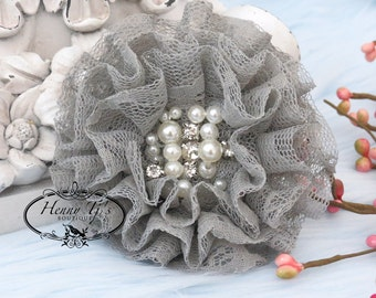 NEW: The Sunridge- 2 pcs 3 inch GREY Ruffled Lace Fabric Flowers w/ rhinestones pearls center for Bridal Sashes, Hair Appliques Accessories