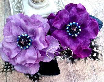 """NEW: Prima Flowers Plume """"Orchid"""" 575540 Lilac and Plum Velvet Fabric Flower with Rhinestone center with leaves and Feathers."""