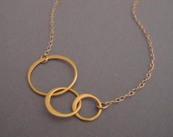 gold circle necklace - gorgeous mirror finish - hammered sterling silver - choice of silver or gold - wedding necklace