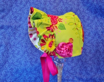 Baby Bonnet Lime Green and Hot Pink Reversible
