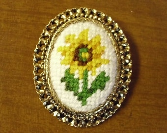 Vintage 1960's  Embroidered Brooch/Pendant