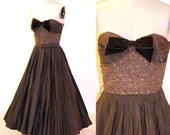 Vintage 50s Party Dress, Brown 1950s Prom Dress, Full Circle Skirt Formal Dress, Filcol NY, XS