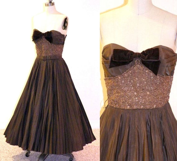 HOLD for Rob 1950s Prom Dress, 50s Dress, 1950s Circle Skirt Party Dress, Filcol NY, XS