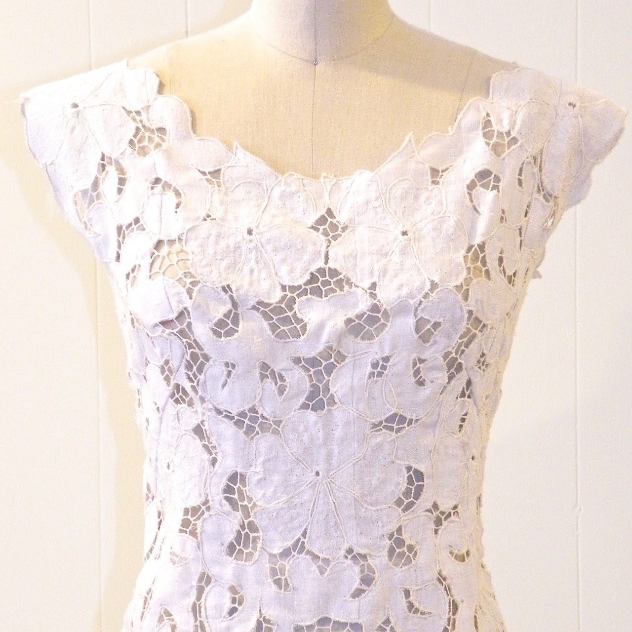 Vintage 1960s White Cutwork Lace Dress In Linen By
