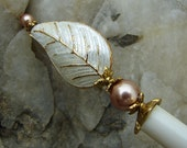Ivory Cloisonne Leaf and Rose Gold Pearl Hair Stick with Gold Accents – Phyllis