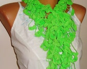 Green Scarf / Women scarf / Pompom Scarf / gift for her womens gift under 15 dollar