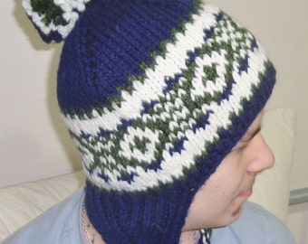 Dark Blue, Green, Cream Ear Flap Winter Hat Hand Knit Hat for Mens Hat, Womens Hat