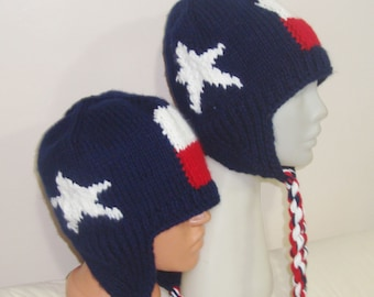 Hand knit Texas Flag hats mens with womens hats