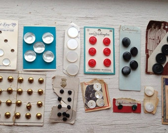 Vintage button lot- satin brass tone pearly-SALE