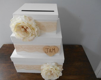 Vintage Lace Victorian Wedding Card Box 3 tiered Large Wedding, You customize colors and flowers