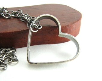 Floating Heart Inspirational Necklace Sterling Silver Heart Pendant When In Doubt Choose Love Necklace Handmade Metal Jewelry