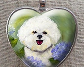 Custom Bichon Heart Pendant ~ From Your Photo ~ Any Dog Photo ~ Silver Heart Necklace ~ Pet Keepsake