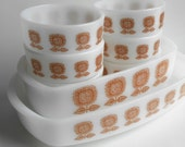Vintage 1960s White and Brown Federal Glass Connossieur Ovenware 8 Piece Set