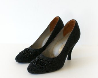 1950s Vintage High Heesl - 50s Beaded Black Butterfly Pumps - Madame Butterfly