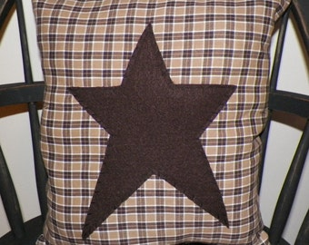 UNSTUFFED Primitive Pillow Cover Brown Barn Star Prim Country Rustic Home Decor Decoration Stitchery Early Colonial Style wvluckygirl