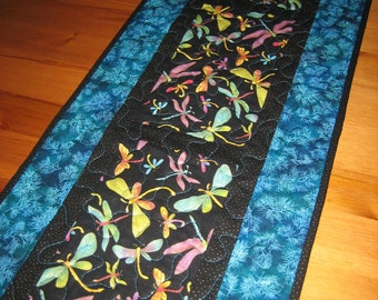 "Dragonfly Tablerunner, Quilted Runner in Turquoise Purple Green 13 x 70"" 100% cotton fabrics reversible"