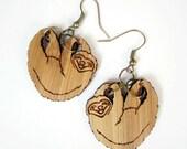 Sloth Earrings laser cut bamboo natural wood look eco friendly nickel free three toed sloth jewellery fun sloth earrings