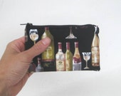 Little Zipper Pouch. Small Zipper Coin Purse. Small Zipper Bag in Black with Wine Bottles and Glasses