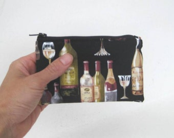 Small Zipper Pouch in Black with Wine Bottles and Glasses