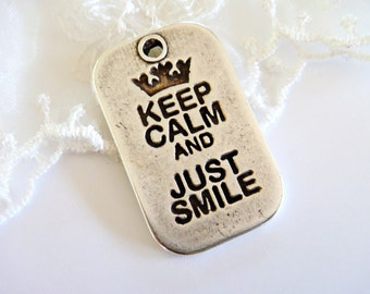 "Antique Silver Army Tag ""Just Smile"" Military Dog Tag Metal Tag Large Charm Pendant 40x25mm - 1 piece"