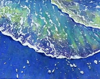 Original Watercolor Painting Ocean Waves Sea Lace