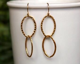 SALE! Hammered Link Earrings, Gold Fill Earrings, Hammered Gold, Lightweight, Everyday Earrings, Minimalist, Simple, Dangle, Drop Earrings