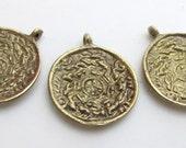 Set of 3 pendants -Small size Tibetan calendar  timeline wheel Solid Brass charm pendant - CP019
