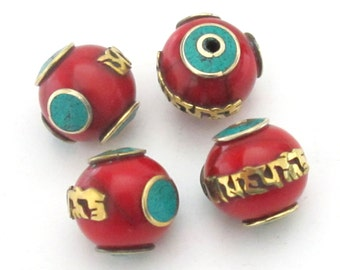Tibetan red resin Om mantra bead with brass , turquoise inlay -  1 bead - BD488A