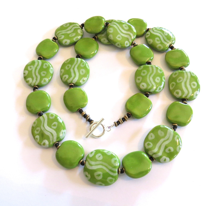 Ceramic Bead Beads: Ceramic Jewelry Kazuri Bead Necklace Green And By