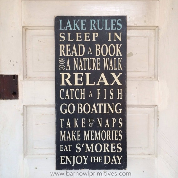 Lake Rules Sign - Typography Word Art Painted Wood Sign Vintage Style by Barn Owl Primitives