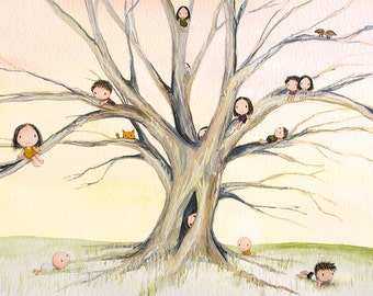 family tree - print family wall art climbing tree 8x10 painting print family ties children playing genealogy ancestor watercolor art print