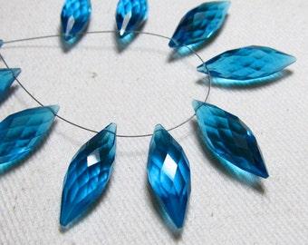 Brand New - 5 Matched Pairs - Blue Apatite  Quartz - Faceted Dew Drops Briolettes amazing Gorgeous sparkle Huge Size 7x20 mm