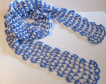 Scarf Blue and White Crocheted Scarf