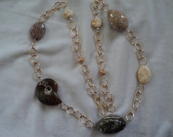 CLEARANCE! Creatures from the Sea Shell, Fossil and Bone and Gold Filled Necklace