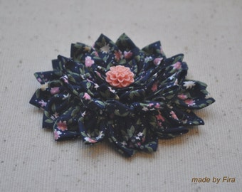 Chrysanthemum flower fabric brooch in Black color (Ready To Ship)