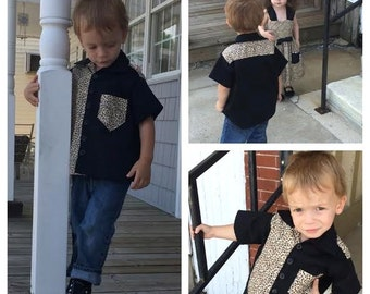 Boys' Rockabilly Shirt, Leopard Rockabilly Shirt, Boys Western Shirt, Custom Boys Shirt. 2t, 3t, 4t, 5t, 6, 7, 8