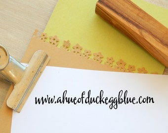 Extra Long Olive Wood Business Stamp -Your Web Address
