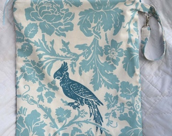 Wet Bag with Heat Sealed PUL Lining Bird and Scrolls in Teal, Turquoise, and Cream,....YOUR CHOICE of handle style and size