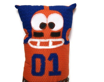 Football Bedtime Story Book Pillow with a Pocket, Personalized and MADE TO ORDER in Custom Team Colors