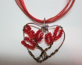 Red Heart Shape, Tree of Life Wire Wrap pendant Necklace Gift of Love